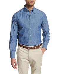 Neiman Marcus Chambray Long Sleeve Sport Shirt Dark Blue