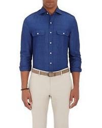 Ralph Lauren Purple Label Chambray Shirt Blue