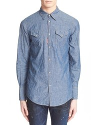 Extra trim fit chambray western shirt medium 678166