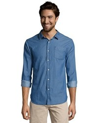 Jachs Indigo Pinstriped Cotton Chambray Button Front Shirt
