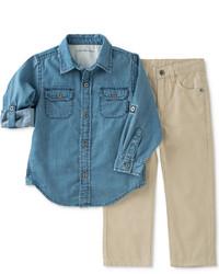 Calvin Klein Little Boys 2 Pc Denim Shirt And Pant Set