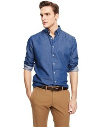 Mango Outlet Slim Fit Chambray Shirt