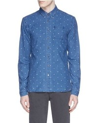 Scotch & Soda Polka Dot Print Chambray Shirt