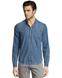 Vince Potassium Blue Cotton Chambray Melrose Button Down Shirt