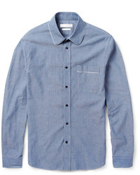 Alexander McQueen Round Collar Cotton Chambray Shirt