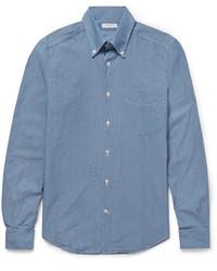 Boglioli Slim Fit Button Down Collar Cotton Chambray Shirt
