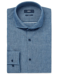 Hugo Boss Slim Fit Cutaway Collar Cotton Chambray Shirt