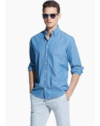 Mango Outlet Slim Fit Patterned Chambray Shirt