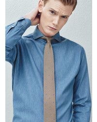 Mango Outlet Slim Fit Tailored Chambray Shirt