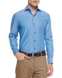 Ermenegildo Zegna Solid Chambray Sport Shirt Teal