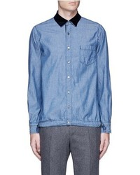 Sacai Velvet Collar Cotton Chambray Shirt