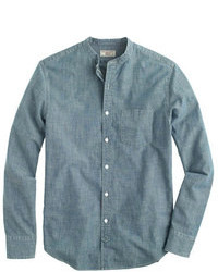 J.Crew Wallace Barnes Band Collar Japanese Selvedge Chambray Shirt