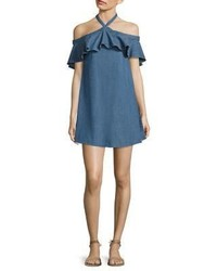 Alice + Olivia Alexia Off The Shoulder Chambray Halter Dress