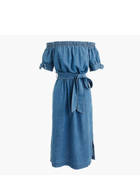 J.Crew Petite Off The Shoulder Chambray Dress With Tie Waist