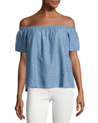 Joie Amesti B Chambray Off The Shoulder Top Blue