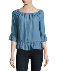 Beach Lunch Lounge Chambray Off The Shoulder Top