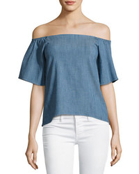 Alice + Olivia Christy Off The Shoulder Chambray Shirt Blue