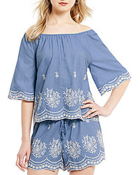Copper Key Embroidered Chambray Off The Shoulder Top