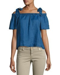 J Brand Evonie Short Sleeve Linen Top Blue