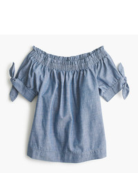 J.Crew Petite Off The Shoulder Top In Chambray