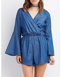Charlotte Russe Chambray Surplice Romper
