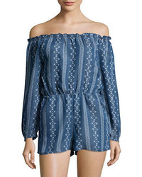 Design Lab Lord Taylor Printed Chambray Off The Shoulder Romper