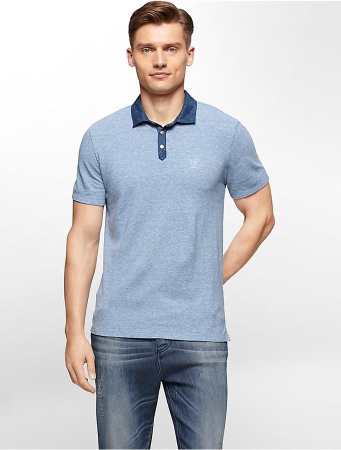 ... Calvin Klein Slim Fit Chambray Collar Cotton Polo Shirt ... 44a62f5475bfe