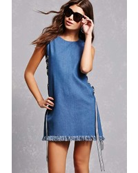 Forever 21 Lace Up Chambray Dress