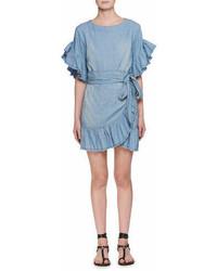 Etoile Isabel Marant Lelicia Round Neck Wrap Front Chambray Dress