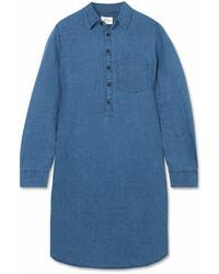 J.Crew Linen And Cotton Blend Chambray Mini Shirt Dress Indigo