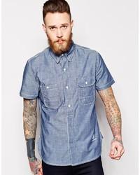 Blue Collar Worker Chambray Shirt Short Sleeve Logo