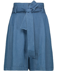 3.1 Phillip Lim Belted Pleated Chambray Shorts