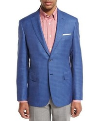 Check two button sport coat light bluered medium 1310192