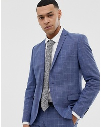 Selected Homme Skinny Fit Suit Jacket In Navy Grid Check