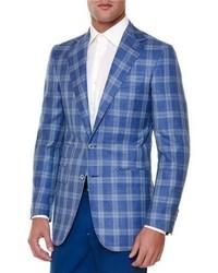 Stefano Ricci Windowpane Two Button Sport Coat Blue