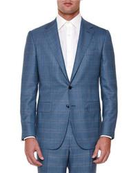 Stefano Ricci Windowpane Two Piece Wool Suit Bluered
