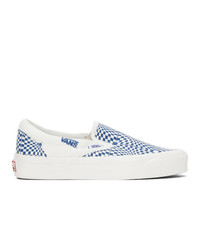 Vans Blue And Off White Check Og Classic Slip On Lx Sneakers