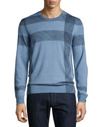 Blue Check Crew-neck Sweater