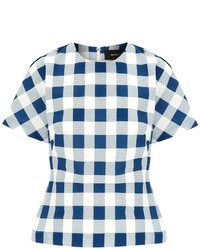 Derek Lam Blue Faille Checked Top