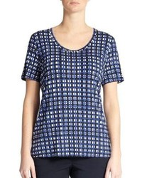 Marina Rinaldi Sizes 14 24 Jersey Check Print Tee