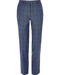 Blue checked slim suit pants medium 469072