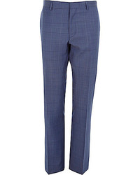 Navy subtle check wool blend slim pants medium 182548