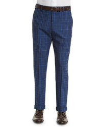 Parker flat front windowpane check trousers blue medium 469073