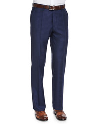 Super 150s box check trousers blue medium 469071