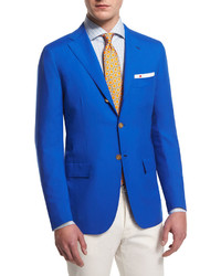 Kiton Check Woven Dress Shirt Blue