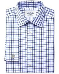 Charles Tyrwhitt Extra Slim Fit Non Iron Twill Grid Check Royal Blue Shirt