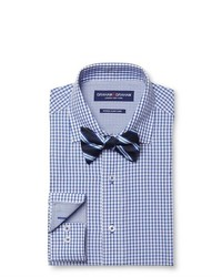 Graham Graham Check Dress Shirt Stripe Bow Tie Set Blue