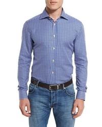 Kiton Small Check Woven Dress Shirt Blue