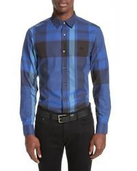 Burberry Coatson Check Slim Fit Cotton Linen Sport Shirt