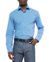 Hugo Boss Boss Micro Check Woven Shirt Blue